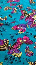 Beautiful turquoise blue butterfly peach touch crepe dress fabric 3 yards.