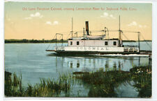 Old Lyme Ferry Boat Colonial Connecticut River to Saybrook Point 1910c postcard