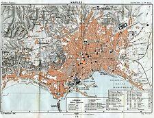 Pianta di Napoli. Carta Topografica,Geografica.Stampa Antica + Passepartout.1886
