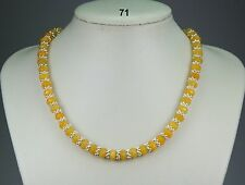 "Golden yellow topaz stone 5x8mm bead necklace, silver snowflake spacers 19""+2"