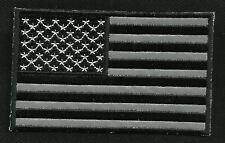 """REFLECTIVE BLACK AMERICAN USA FLAG 4"""" MOTORCYCLE BIKER MILITARY PATCH FORWARD"""