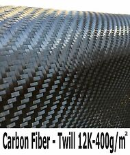 CARBON FIBER Fabric-12K - 400g/m2 -TWILL Weave - 1 Meter (39 in) wide x 5 Ft.