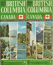 1966 BRITISH COLUMBIA Official Highway Road Map Canada Campground Fishing Guide
