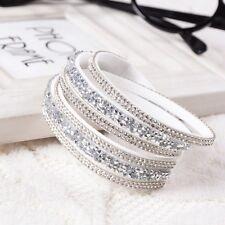2016 elegante pelle slake bracelet REALIZZATI CON CRISTALLI SWAROVSKI-BIANCO-NUOVO