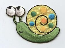 Embroidered Iron On Applique Patch SMALL Shimmery Colorful Green Snail