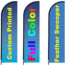 3 Customized Feather Flags 10' Full Color Swooper Flags with poles and stands