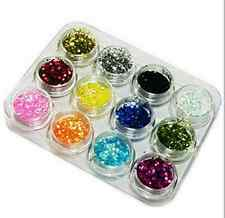 12 Color Nail Art Glitter Powder Dust Decoration kit For Acrylic Tips UV Gel AHY
