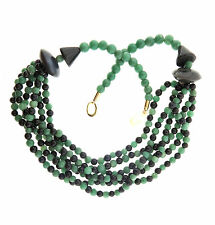 Green and Black Jade Bead 6 Strand Necklace Vintage