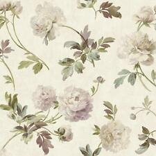 Wallpaper Designer Lavender Purple Green Brown Peony Floral Toss on Cream Faux