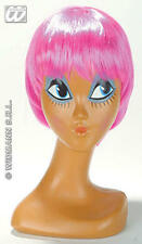 Pink Bob Wig New Age Mod Cyber Emo Punk Rocker Raver Rave Fancy Dress