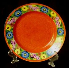 Czech Hand Painted Pottery Plate Red Vintage Peasant Folk Art Blue Yellow Floral
