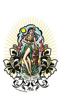 SEXY ISLAND Mai O Mai Vintage HULA GIRL SURFER STICKER/ DECAL By Mitch OConnell