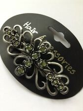A Gunmetal Flower And Green Diamanté Metal Barrette Hair Clip