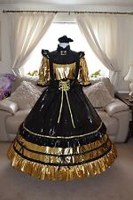 Amazing Long Gold PVC Adult Sissy Maids Dress With Black Apron size xxl