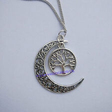 Vintage Silver Crescent Moon Sun Pendant ,Tree Of life Moon Long Chain Necklace