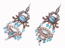 Magnificent Blue Diamante & Dual Opal Eye /copper Metal Hook Earrings(Zx216)
