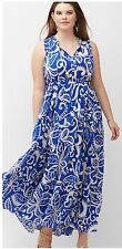 New Lane Bryant $90 Printed Tiered Cotton Maxi Dress Blue White Plus 22/24 3X