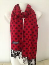 100% CASHMERE SCARF POLKA DOT DESIGN COLOR RED SUPER SOFT MADE IN SCOTLAND