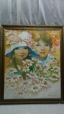 Beautiful vintage Diana Denslow  boy and girl oil painting  framed