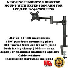 "NUOVO singolo Monitor Desktop Mount W / Extension Arm per LCD / LED 10 "" -30"" schermate"