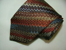 MEN'S MISSIONI CRAVATTE TIE 100% SILK MULTICOLOR GEOMETRIC MADE IN ITALY  #032