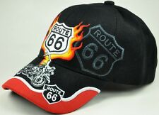 NEW! US ROUTE 66 THE MOTHER ROAD HARLEY MOTORCYCLE BIKE CAP HAT FLAME BLACK