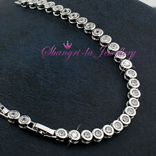 18K White GOLD GF SILVER Wedding Party Tennis BRACELET Swarovski DIAMOND EX703