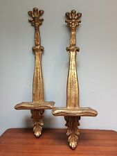 "Pair Gold Gilt Gesso Plate Holder Wall Shelf Sconce 26""H x 7.25""W x 4.25""D"