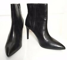 "M&S Woman Black Faux Leather High 4"" Stiletto Heel Ankle Boots Insolia BNWT S7"
