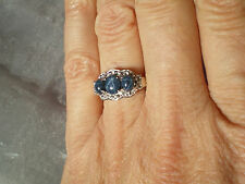 Star Sapphire & Topaz ring, 1.91 carats, size N/O, in 3.07 grams of 925 Ster Sil