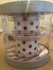 Grace's Teaware Red And White Stripe Tea Cup And Saucer and Polka-dots 4 pc Set
