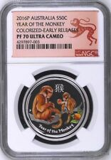 2016 P Australia PROOF COLORIZED Silver Lunar Year of Monkey NGC PF70 1/2oz Coin