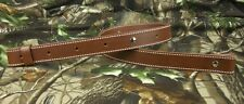 "225S-01_LEATHER_RIFLE GUN SLING_Amish_Hand Made_1 1/4""_adj. 30"" -42""_Brown"