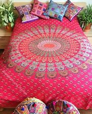 DIVINE NEW RED PEACOCK MANDALA DOUBLE THROW WALL HANGING YOGA BED GYPSY URBAN