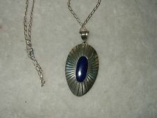 Sterling Silver Lapis Sunray pendant Raful Cano signed with chain Mexico Taxco