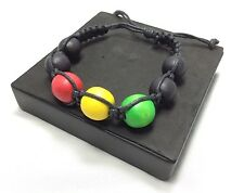 RASTA BLACK RED YELLOW GREEN  BRACELET BOB MARLEY JAMAICA REGGAE AFRICA IRIE NEW
