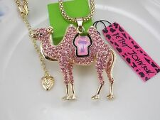 Betsey Johnson jewelry inlay crystal pink camel pendant necklace # A442N