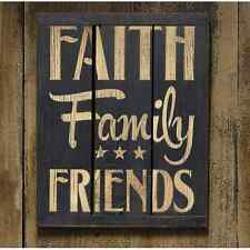 "Black Painted Wooden 3-Panel Sign ""Faith Family Friends"""