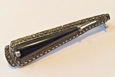 Vintage Estate Art Deco STERLING SILVER .925 Marcasite Black On Bar Pin BROOCH