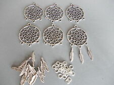 6 X MAKE YR OWN DREAMCATCHER CHARMS, SILVER COLOR TIBETAN METAL CHARMS/PENDANTS
