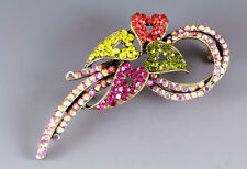 NEW RUCINNI MULTICOLOR SWAROVSKI CRYSTALS FLORAL PIN BROOCH