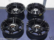 "14"" POLARIS SPORTSMAN 570 ALUMINUM ATV WHEELS NEW SET 4 LIFE WARRANTY SS212 BLK"