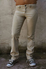 9.2 by Carlo rivincite Pantaloni Beige Denim Jeans Slim Stretch w25 uk8 ITALIA