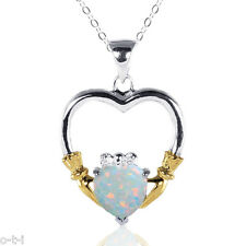 14k Yellow Gold / White Gold Heart Cut White Fire Opal Silver Claddagh Necklace