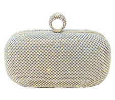 Silver Metal Bridal Ring Clutch Purse Evening Bag with Aurora Borealis Crystals