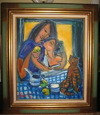 """Fantastic French Impressionist Women With A Cat """"Femmes Au Chat"""" Mystery Artist"""
