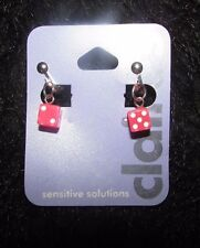 new pretty pink lucky dice clip on earrings non pierced free US ship