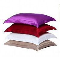 3# 2pc New Queen/Standard Silk~y Satin Pillow Case Multiple Colors free shipping