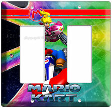 SUPER MARIO KART RACING PRINCESS PEACH double LIGHT SWITCH PLATE NINTENDO DS WII