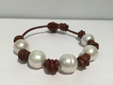 Pulsera Cuero + Perlas Naturales - Leather Brown Bracelet With Natural Pearls